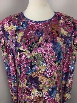 VINTAGE OLEG CASSINI BLACK TIE BRIGHT Floral SEQUIN BEADED SILK Evening DRESS 16