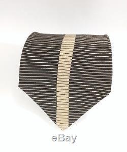 VITALIANO PANCALDI Gold Black Art Deco Contrast Shutter Pattern Silk Tie
