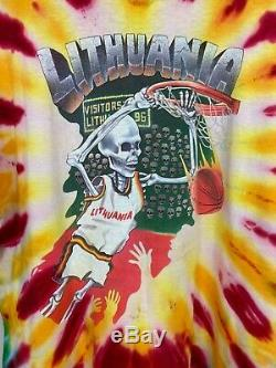VTG 1992 Liquid Blue Lithuania Basketball Tie Dye Grateful Dead T-Shirt XL USA