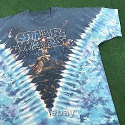 VTG 90S Star Wars All Over Print Tie Dye T Shirt Liquid Blue Tee USA Mens XL