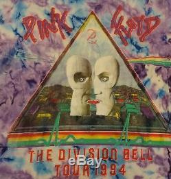 VTG 90s 1994 PINK FLOYD Division Bell Concert Tour Rock Tie Dye Animal T-Shirt L