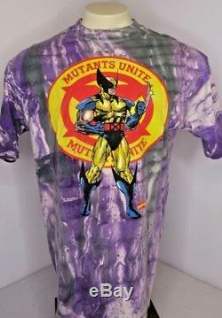 VTG 90s Wolverine Tie Dye All Over Print T-Shirt Marvel Comics X-Men Mutants XL