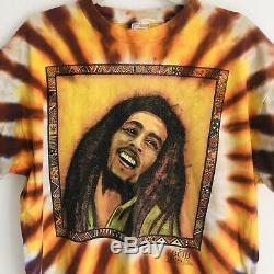 VTG Bob Marley Tie Dye Graphic T Shirt Robert Nesta Delta Rare Mens Large
