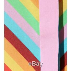 Valentino 1973 Chevron Stripe Self -Tie Silk Blouse Sz 46 IT 42 FR, 10 U. S EUC