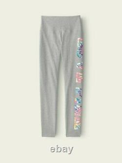 Victoria's Secret Pink Rainbow Tie Dye Tee Shirt + Leggings Set Gray L XL NWT