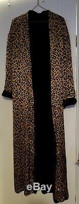 Victorias Secret Long SILK Robe M/L Reversible Leopard Print & Black Velvet