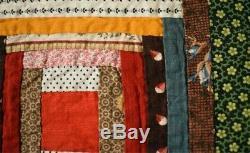 Vintage 1886 Log Cabin Antique Tied Quilt SMALL PIECES & PROVENANCE