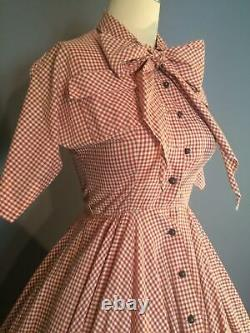 Vintage 1950s Gingham Check Billy Dee Fit & Flare Dress XS Full Skirt Bow Tie
