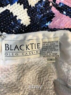 Vintage 1990's Black tie Oleg Cassini Long Sleeve Sequined Dress Size 6