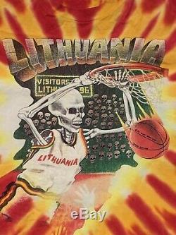 Vintage 1992 Lithuania Basketball Grateful Dead Shirt XL Tie Dye