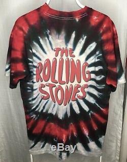 Vintage 1994 Liquid Blue Rolling Stones Tie Dye Mens Shirt Size XL