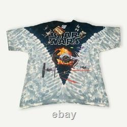 Vintage 1997 Starwars Liquid Blue Tie Fighter Tee All Over Print