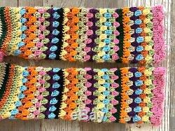 Vintage 70s Granny Square Crochet Knit Tie Front Cardigan Boho Hippy Festival