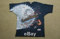 Vintage 90's Star Wars Liquid Blue Tie Dye Shirt
