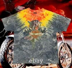 Vintage 90s Harley Davidson Panther Tie Dye Single Stitch Tee Shirt Size XL