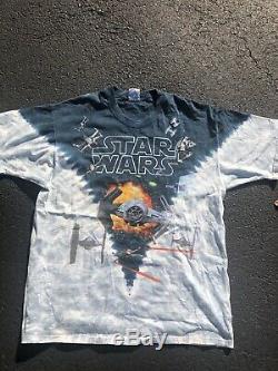 Vintage 90s Liquid Blue Star Wars Shirt Size XLarge Tie Dye