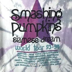 Vintage 90s SMASHING PUMPKINS SIAMESE DREAM CONCERT TIE-DYE T-Shirt L rock tour