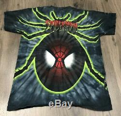 Vintage 98 Spider Man Marval Comics Double Sided T Shirt Neon Tie Dye Distressed