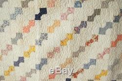 Vintage Bow Tie Antique Quilt BEAUTIFUL FABRICS & NICE SMALL SCALE