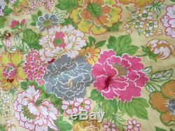 Vintage Crazy Quilt 60 x 80 Mixed Textile Tied Quilt Floral, Primitive Handmade