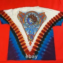 Vintage Grateful Dead Liquid Blue Tie Dye Skeleton Hippie Shirt L Nike SB