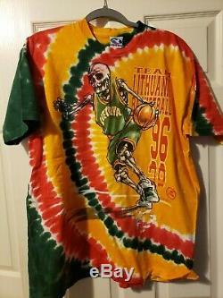 Vintage Grateful Dead Lithuania 1996 Basketball Tie-Dye Tee Liquid Blue XXL