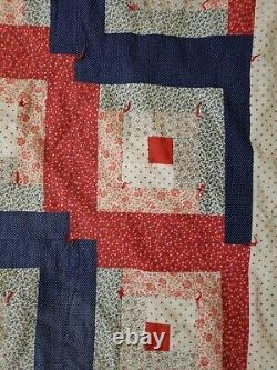 Vintage Handmade Hand Quilted & Tied Log Cabin Quilt /Floral/Heart 95x 95