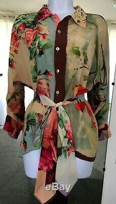 Vintage Jean Paul Gaultier Shirt Tie Roses Silk Size S