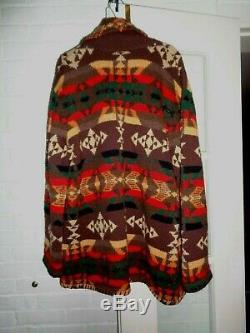 Vintage Lauren Ralph Lauren Handknit Wool Southwest Navajo Sweater Coat XL