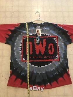 Vintage NOS 1998 NWO New World Order Tie Dye Liquid Blue T-Shirt WCW WWF WWE ECW