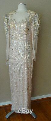 Vintage Nwot Black Tie Silk Pearl Bead Sequin Evening Gown Dress Wedding Formal