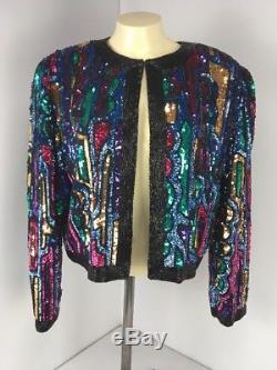 Vintage OLEG CASSINI BLACK TIE Womens 100% Silk Sequined Jacket Size M Nice