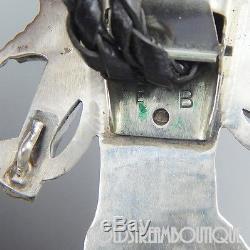Vintage Signed Bb Zuni Sterling Silver Gemstone Inlay Huge Snake Dancer Bolo Tie