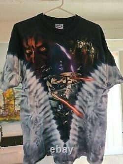 Vintage Star Wars Epi 1 Battle for Naboo Liquid Blue Tie Dye T-Shirt Men's L