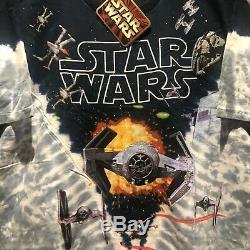 Vintage Star Wars Tie Dye 1990's All Over Print Shirt Liquid Blue Darth NWT Tag