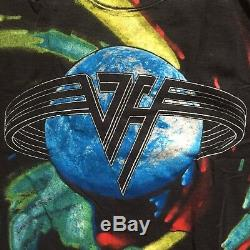 Vintage T shirt men VAN HALEN 1993 Tour Large All over print Tie dye Rare 90s