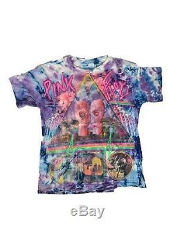 Vintage VTG 90s Pink Floyd Division Bell Tie Dye Tour T-Shirt