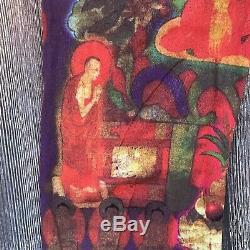 Vivienne Tam Nylon Mesh Buddha Print Pants Size 1 Multi-Color Straight Leg