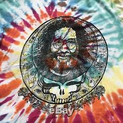 Vtg 80s Grateful Dead Jerry Garcia Skull Head Short Sleeve Tie-Dye T-Shirt Sz XL
