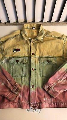 Vtg Cross Colours Tie Dye Denim Jacket 90s 1990s L/XL