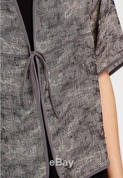 XL $268 New Eileen Fisher Black Linen Gauze Jacquard Tie-front Boxy Jacket