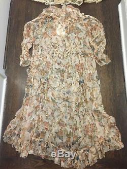 ZIMMERMANN Ruffled Printed Silk-Georgette Midi Dress US Size 4-6 Orig. $668 NWT