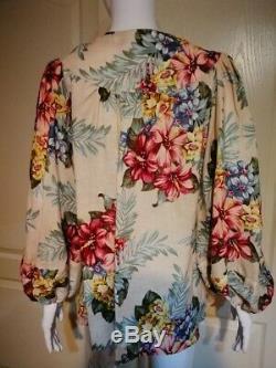 Zimmermann KALI HIBISCUS Floral Print LINEN TIE Blouse Shirt NEW