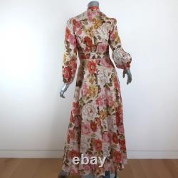 Zimmermann Maxi Dress Bonita Floral Print Linen Size 1 Long Sleeve Tie-Neck