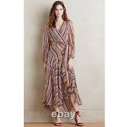 Zimmermann Ticking Striped Silk Wrap Midi Dress Size 3