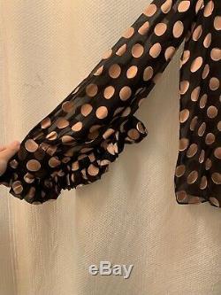 Zimmermann Unbridled Polka-Dot Tie Neck Blouse Size 1 -$595