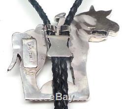 Zuni Handmade Sterling Silver Horse Multi Color Bolo Tie -H. Licoln