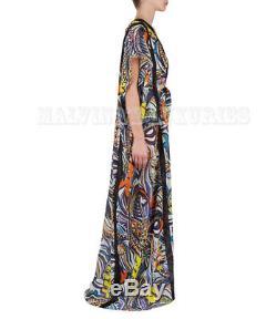 $ 1,570 Emilio Pucci Kaftan Robe Légère Sauterelle Coton Imprimé Cravate 44 10