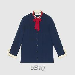 $ 1300 Gucci Auth Nouveau - Cravate Rouge En Soie Avec Crêpe De Chine - Chemise À Poignets En Ivoire 38