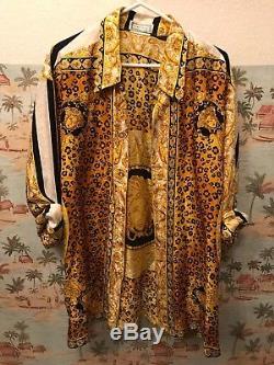 1980 Versace Golden Leopard Et Méduse Chemise En Soie